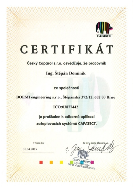 Certifikát Capatect